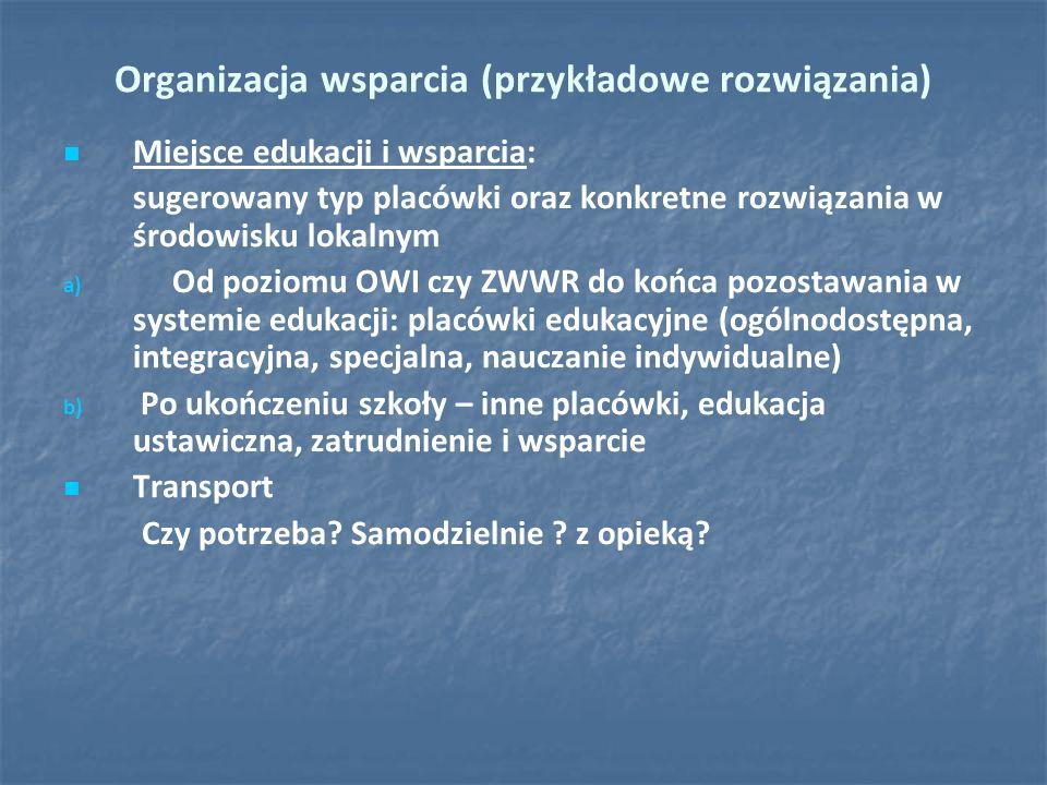 Organizacja wsparcia (przykładowe rozwiązania) Miejsce edukacji i wsparcia: sugerowany typ placówki oraz konkretne rozwiązania w środowisku lokalnym a