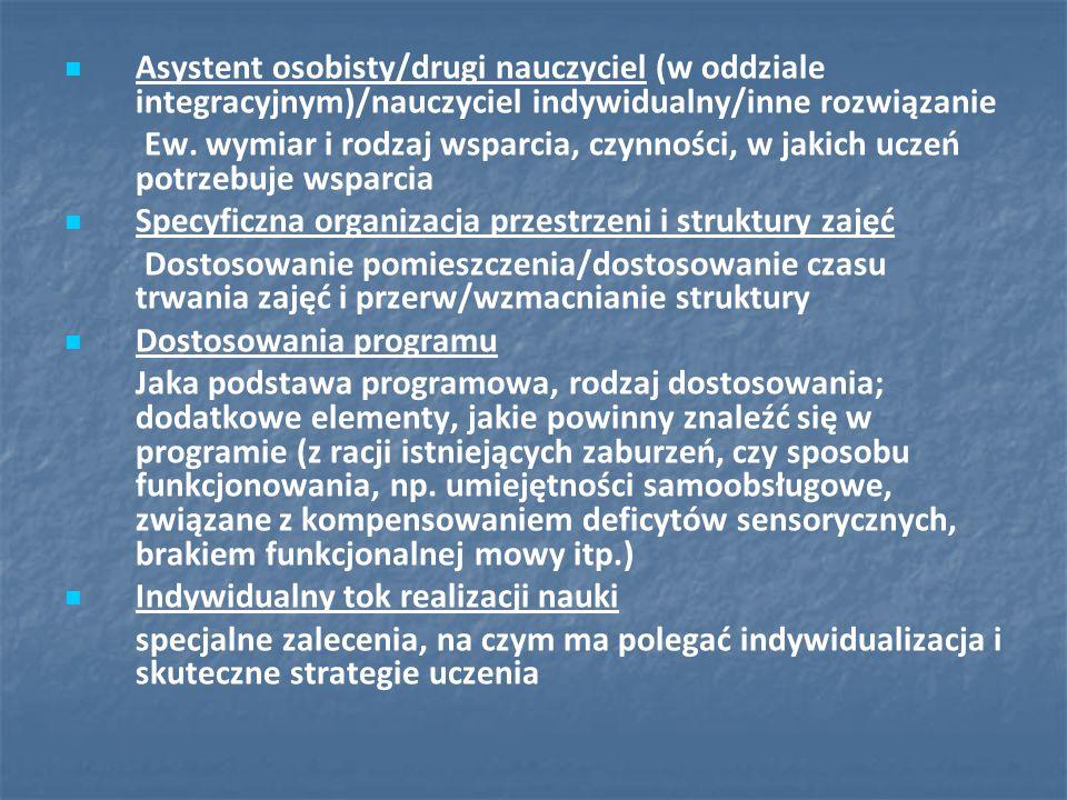 Asystent osobisty/drugi nauczyciel (w oddziale integracyjnym)/nauczyciel indywidualny/inne rozwiązanie Ew. wymiar i rodzaj wsparcia, czynności, w jaki