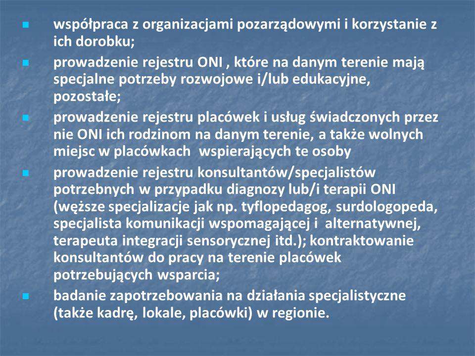 współpraca z organizacjami pozarządowymi i korzystanie z ich dorobku; prowadzenie rejestru ONI, które na danym terenie mają specjalne potrzeby rozwojo