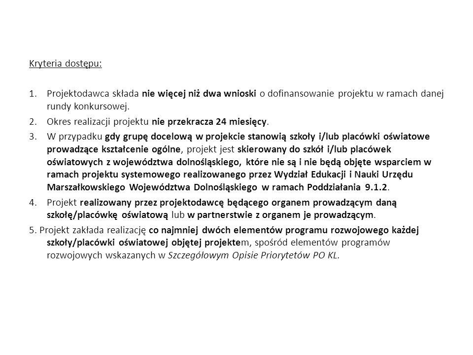 Kryteria dostępu: 1.Projektodawca składa nie więcej niż dwa wnioski o dofinansowanie projektu w ramach danej rundy konkursowej. 2.Okres realizacji pro