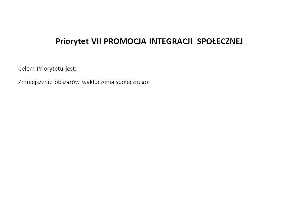 Priorytet VII PROMOCJA INTEGRACJI SPOŁECZNEJ Celem Priorytetu jest: Zmniejszenie obszarów wykluczenia społecznego