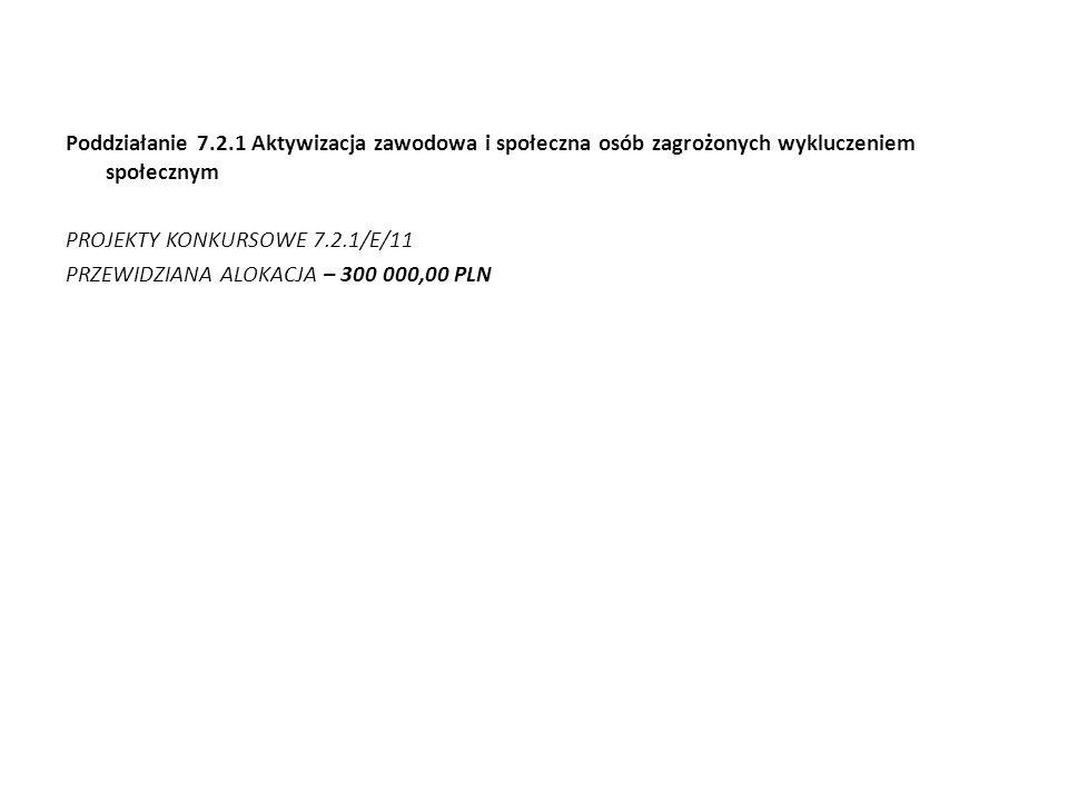 Poddziałanie 7.2.1 Aktywizacja zawodowa i społeczna osób zagrożonych wykluczeniem społecznym PROJEKTY KONKURSOWE 7.2.1/E/11 PRZEWIDZIANA ALOKACJA – 30