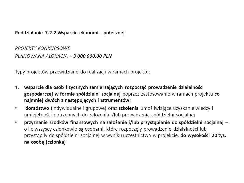 Poddziałanie 7.2.2 Wsparcie ekonomii społecznej PROJEKTY KONKURSOWE PLANOWANA ALOKACJA – 3 000 000,00 PLN Typy projektów przewidziane do realizacji w