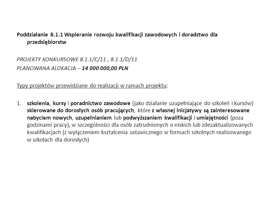 Poddziałanie 8.1.1 Wspieranie rozwoju kwalifikacji zawodowych i doradztwo dla przedsiębiorstw PROJEKTY KONKURSOWE 8.1.1/C/11, 8.1.1/D/11 PLANOWANA ALO