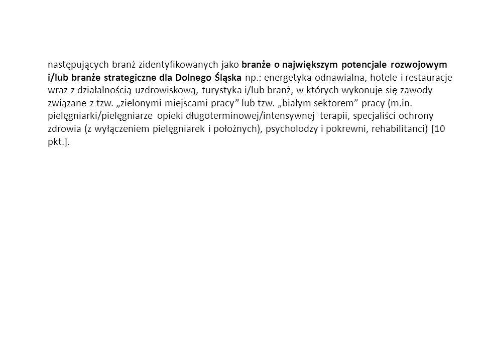 następujących branż zidentyfikowanych jako branże o największym potencjale rozwojowym i/lub branże strategiczne dla Dolnego Śląska np.: energetyka odn