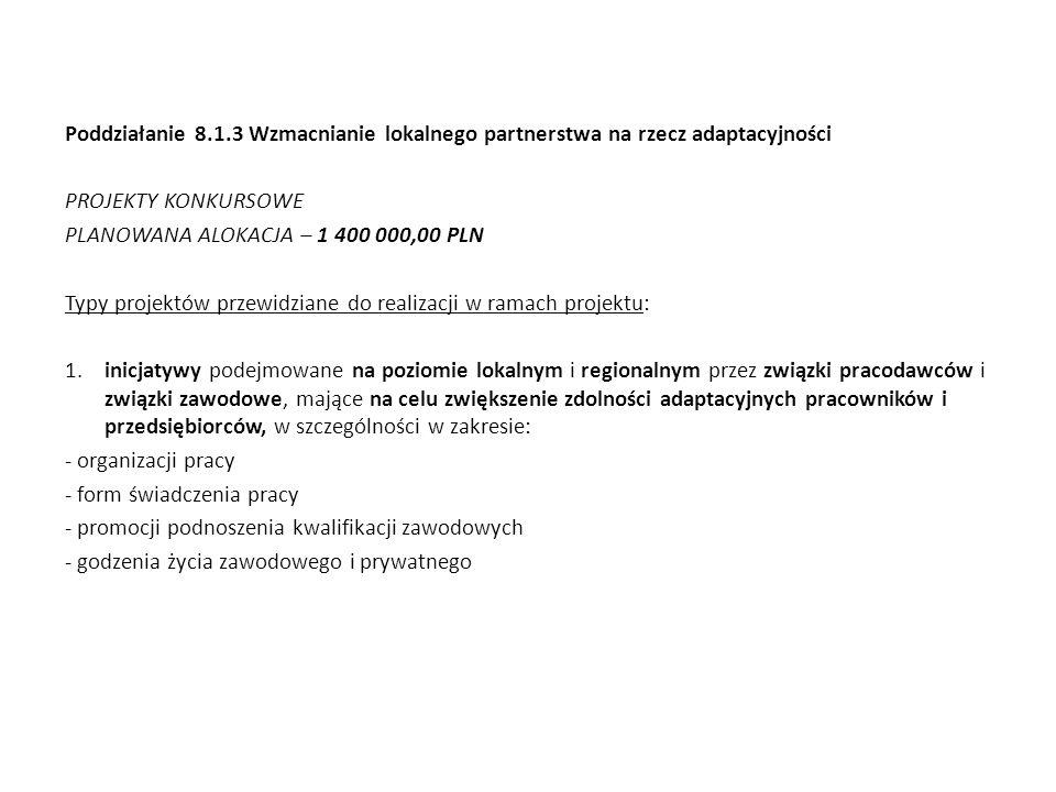 Poddziałanie 8.1.3 Wzmacnianie lokalnego partnerstwa na rzecz adaptacyjności PROJEKTY KONKURSOWE PLANOWANA ALOKACJA – 1 400 000,00 PLN Typy projektów