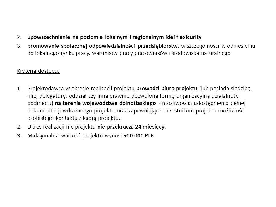 2. upowszechnianie na poziomie lokalnym i regionalnym idei flexicurity 3.promowanie społecznej odpowiedzialności przedsiębiorstw, w szczególności w od