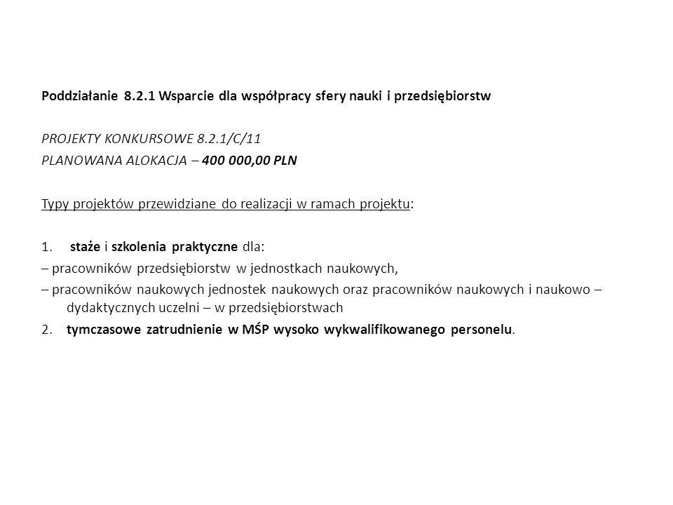 Poddziałanie 8.2.1 Wsparcie dla współpracy sfery nauki i przedsiębiorstw PROJEKTY KONKURSOWE 8.2.1/C/11 PLANOWANA ALOKACJA – 400 000,00 PLN Typy proje