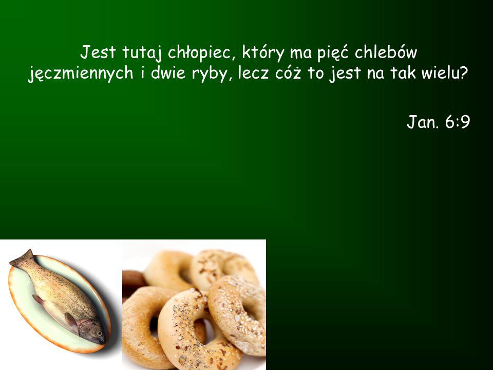 Jest tutaj chłopiec, który ma pięć chlebów jęczmiennych i dwie ryby, lecz cóż to jest na tak wielu? Jan. 6:9