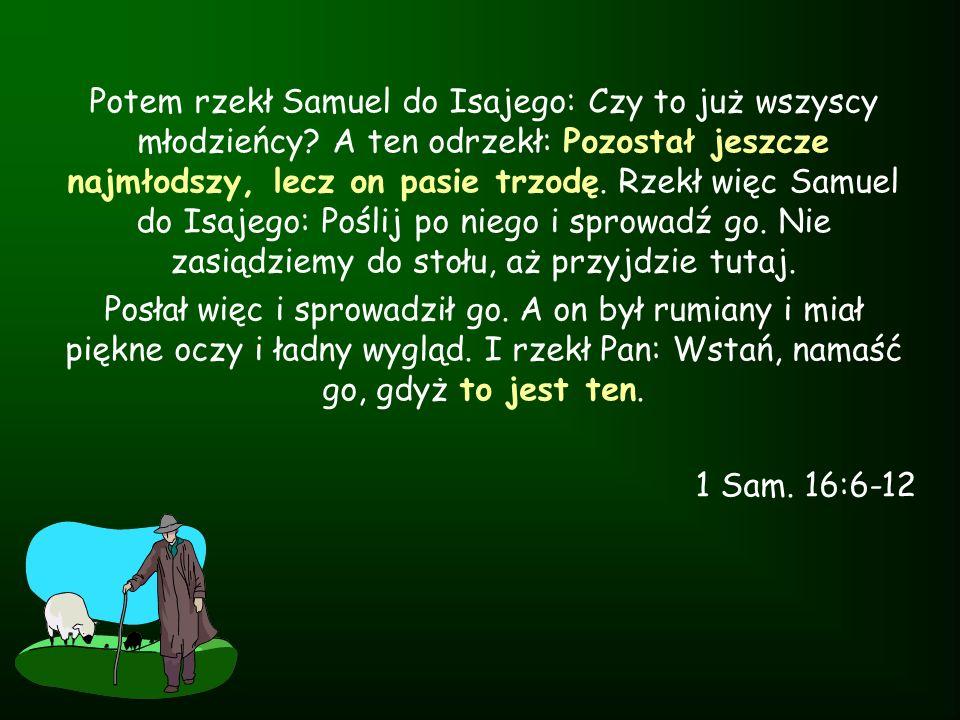 Potem rzekł Samuel do Isajego: Czy to już wszyscy młodzieńcy? A ten odrzekł: Pozostał jeszcze najmłodszy, lecz on pasie trzodę. Rzekł więc Samuel do I