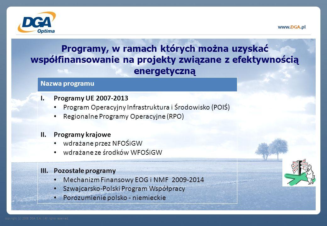copyright (c) 2008 DGA S.A.   All rights reserved. www.DGA.pl Programy, w ramach których można uzyskać współfinansowanie na projekty związane z efekty