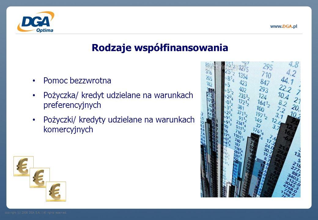 copyright (c) 2008 DGA S.A.   All rights reserved. www.DGA.pl Rodzaje współfinansowania Pomoc bezzwrotna Pożyczka/ kredyt udzielane na warunkach prefe