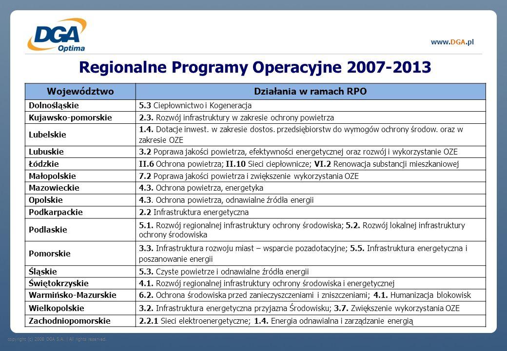 copyright (c) 2008 DGA S.A.   All rights reserved. www.DGA.pl Regionalne Programy Operacyjne 2007-2013 WojewództwoDziałania w ramach RPO Dolnośląskie