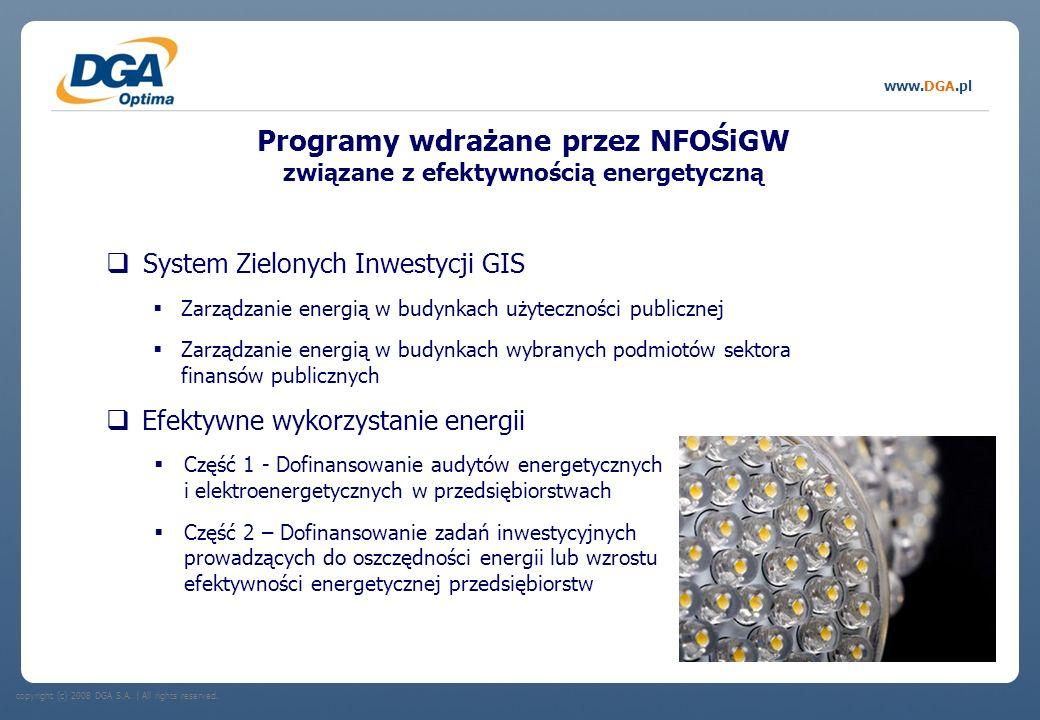 copyright (c) 2008 DGA S.A.   All rights reserved. www.DGA.pl Programy wdrażane przez NFOŚiGW związane z efektywnością energetyczną System Zielonych I