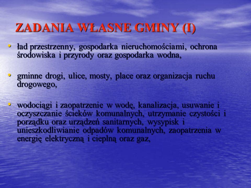 ZADANIA WŁASNE GMINY (I) ład przestrzenny, gospodarka nieruchomościami, ochrona środowiska i przyrody oraz gospodarka wodna, ład przestrzenny, gospoda
