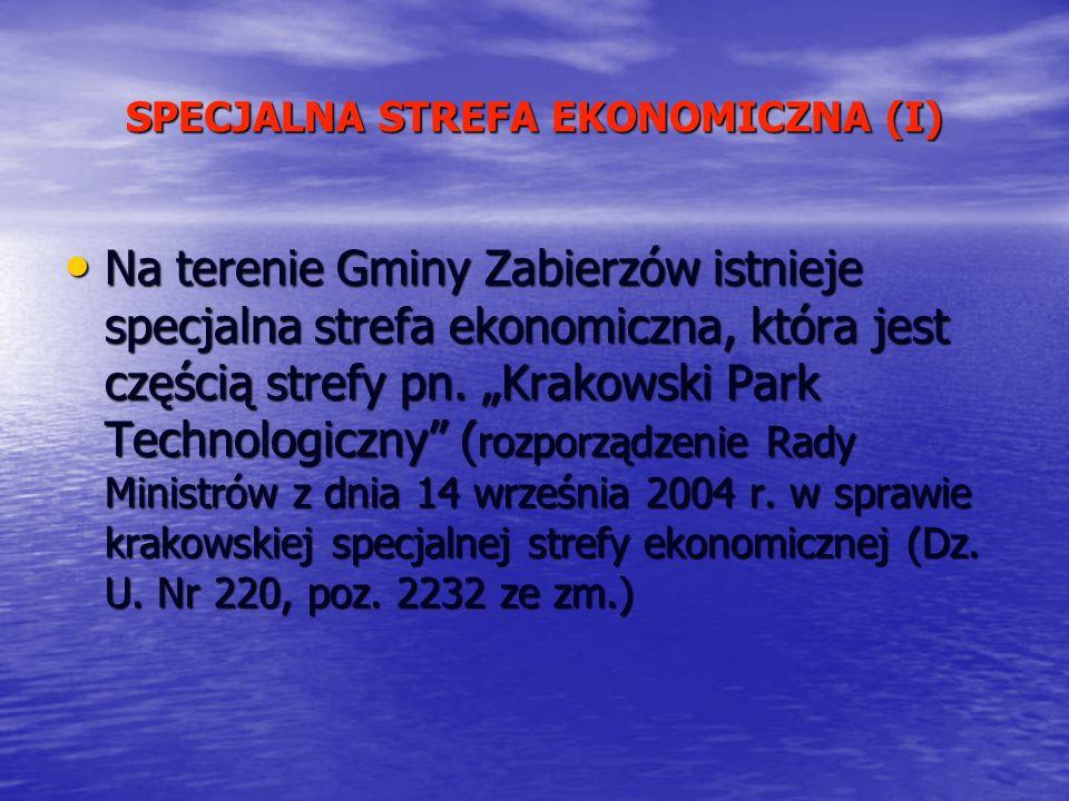SPECJALNA STREFA EKONOMICZNA (I) Na terenie Gminy Zabierzów istnieje specjalna strefa ekonomiczna, która jest częścią strefy pn. Krakowski Park Techno