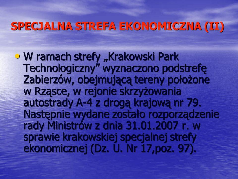 SPECJALNA STREFA EKONOMICZNA (II) W ramach strefy Krakowski Park Technologiczny wyznaczono podstrefę Zabierzów, obejmującą tereny położone w Rząsce, w