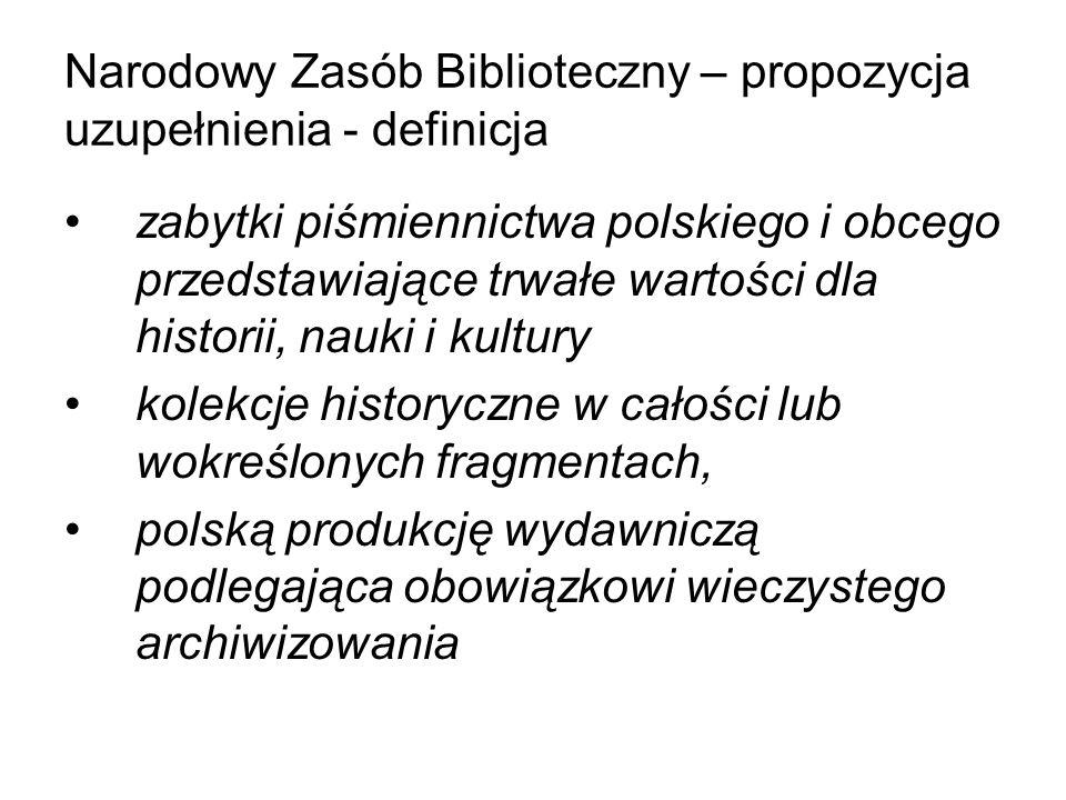 Narodowy Zasób Biblioteczny – propozycja uzupełnienia - definicja zabytki piśmiennictwa polskiego i obcego przedstawiające trwałe wartości dla histori