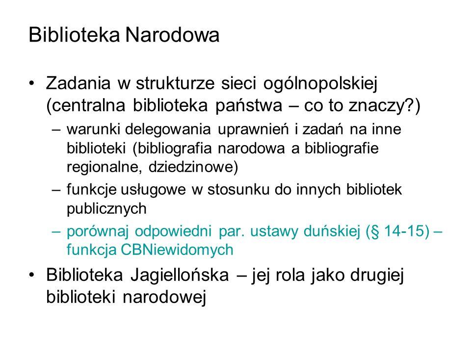 Biblioteka Narodowa Zadania w strukturze sieci ogólnopolskiej (centralna biblioteka państwa – co to znaczy?) –warunki delegowania uprawnień i zadań na