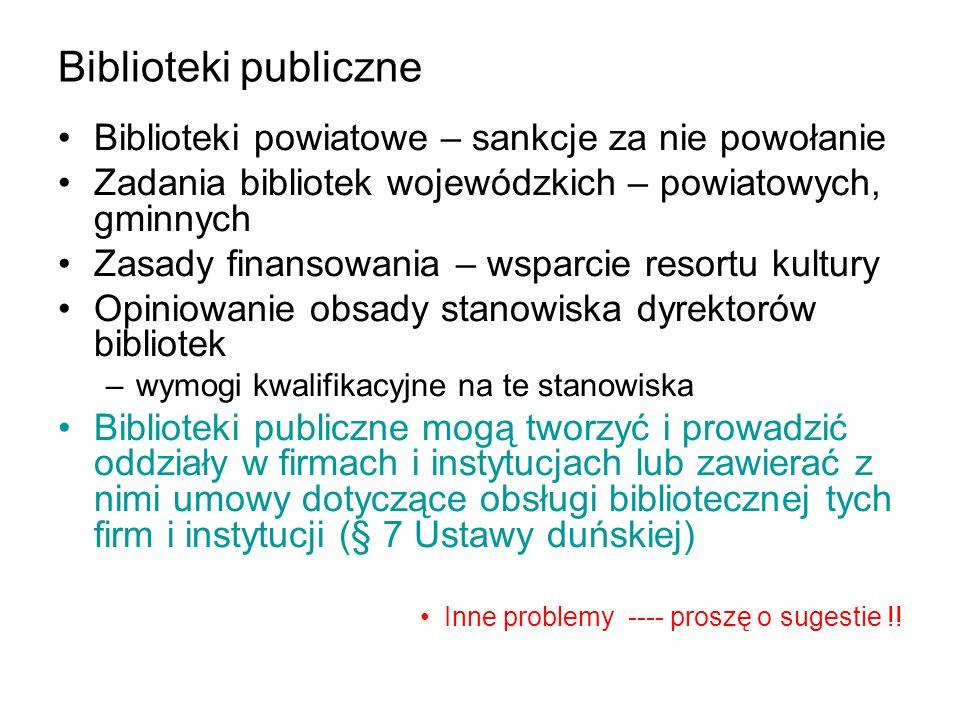Biblioteki publiczne Biblioteki powiatowe – sankcje za nie powołanie Zadania bibliotek wojewódzkich – powiatowych, gminnych Zasady finansowania – wspa