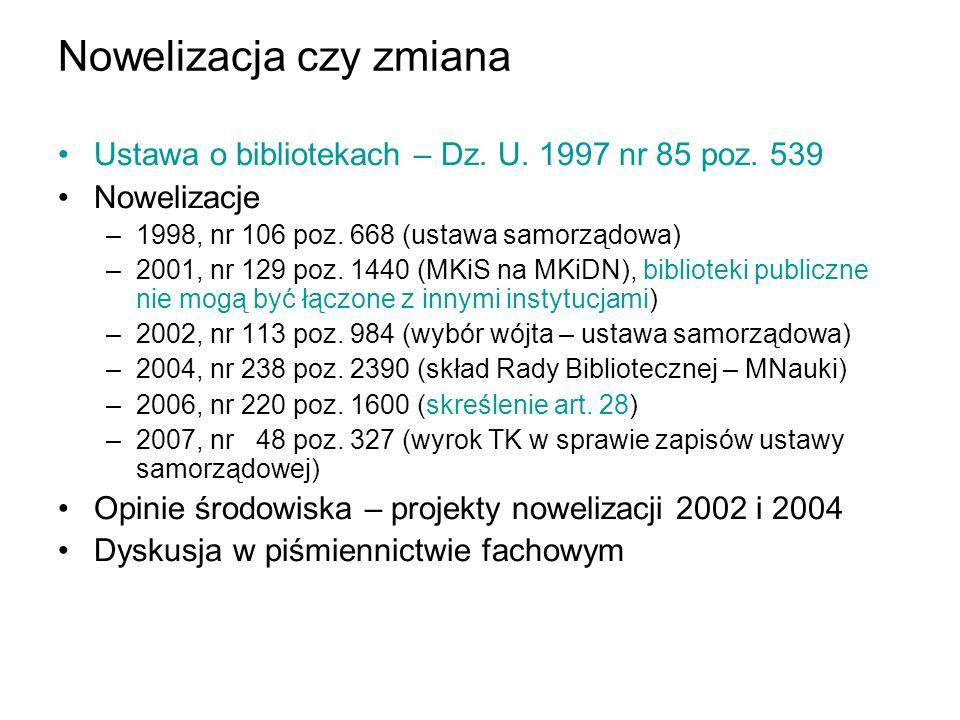 Nowelizacja czy zmiana Ustawa o bibliotekach – Dz. U. 1997 nr 85 poz. 539 Nowelizacje –1998, nr 106 poz. 668 (ustawa samorządowa) –2001, nr 129 poz. 1