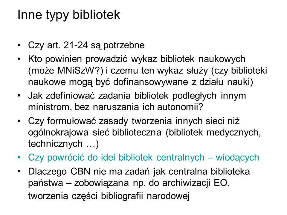 Inne typy bibliotek Czy art. 21-24 są potrzebne Kto powinien prowadzić wykaz bibliotek naukowych (może MNiSzW?) i czemu ten wykaz służy (czy bibliotek