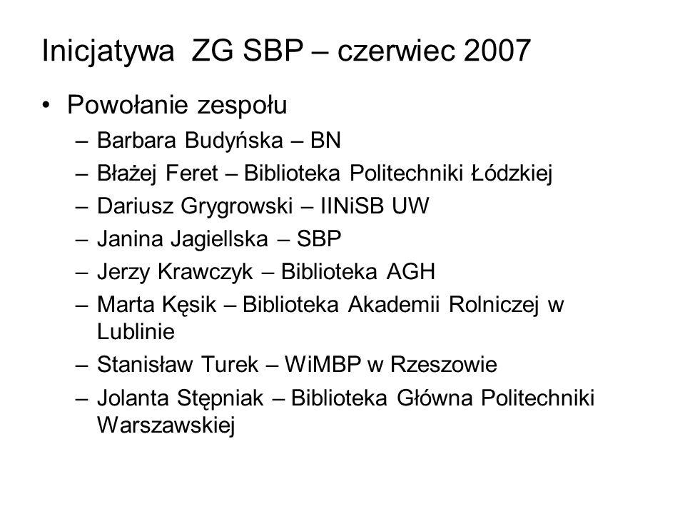 Inicjatywa ZG SBP – czerwiec 2007 Powołanie zespołu –Barbara Budyńska – BN –Błażej Feret – Biblioteka Politechniki Łódzkiej –Dariusz Grygrowski – IINi