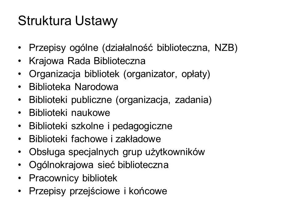 Struktura Ustawy Przepisy ogólne (działalność biblioteczna, NZB) Krajowa Rada Biblioteczna Organizacja bibliotek (organizator, opłaty) Biblioteka Naro