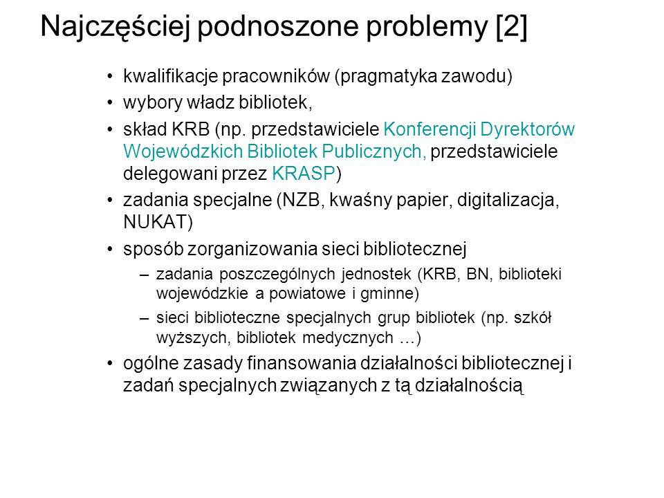 Najczęściej podnoszone problemy [2] kwalifikacje pracowników (pragmatyka zawodu) wybory władz bibliotek, skład KRB (np. przedstawiciele Konferencji Dy