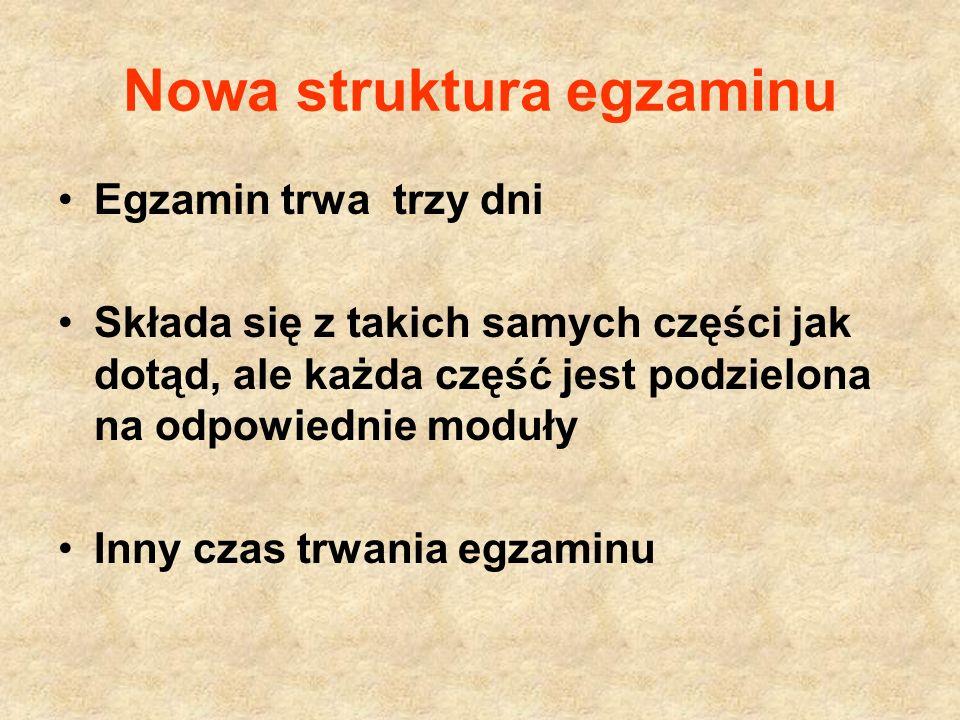 24 kwietnia 2012 część humanistyczna Moduł: historia i WOS Tylko w formie zadań zamkniętych 9.00 – 10.00 Moduł: język polski Zadania zamknięte i otwarte w tym dłuższa wypowiedź 10.45 – 12.15