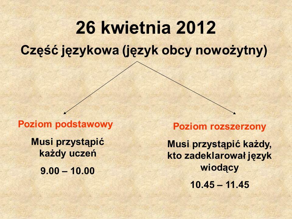 26 kwietnia 2012 Część językowa (język obcy nowożytny) Poziom podstawowy Musi przystąpić każdy uczeń 9.00 – 10.00 Poziom rozszerzony Musi przystąpić k