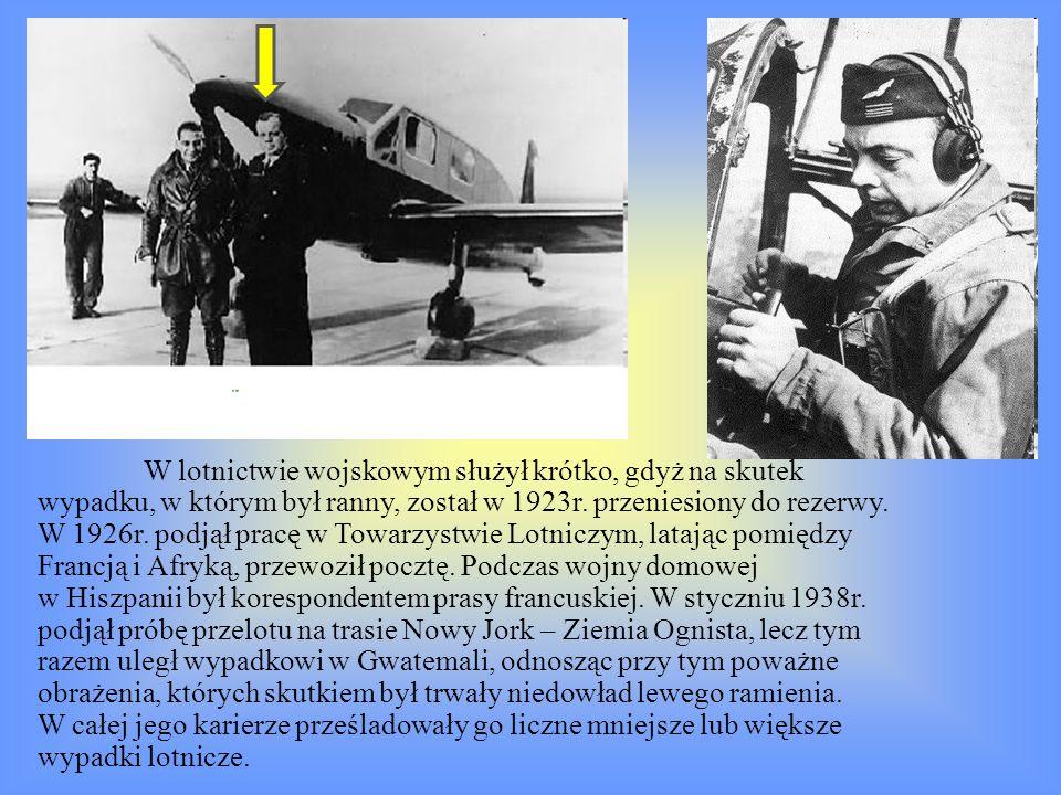W lotnictwie wojskowym służył krótko, gdyż na skutek wypadku, w którym był ranny, został w 1923r. przeniesiony do rezerwy. W 1926r. podjął pracę w Tow