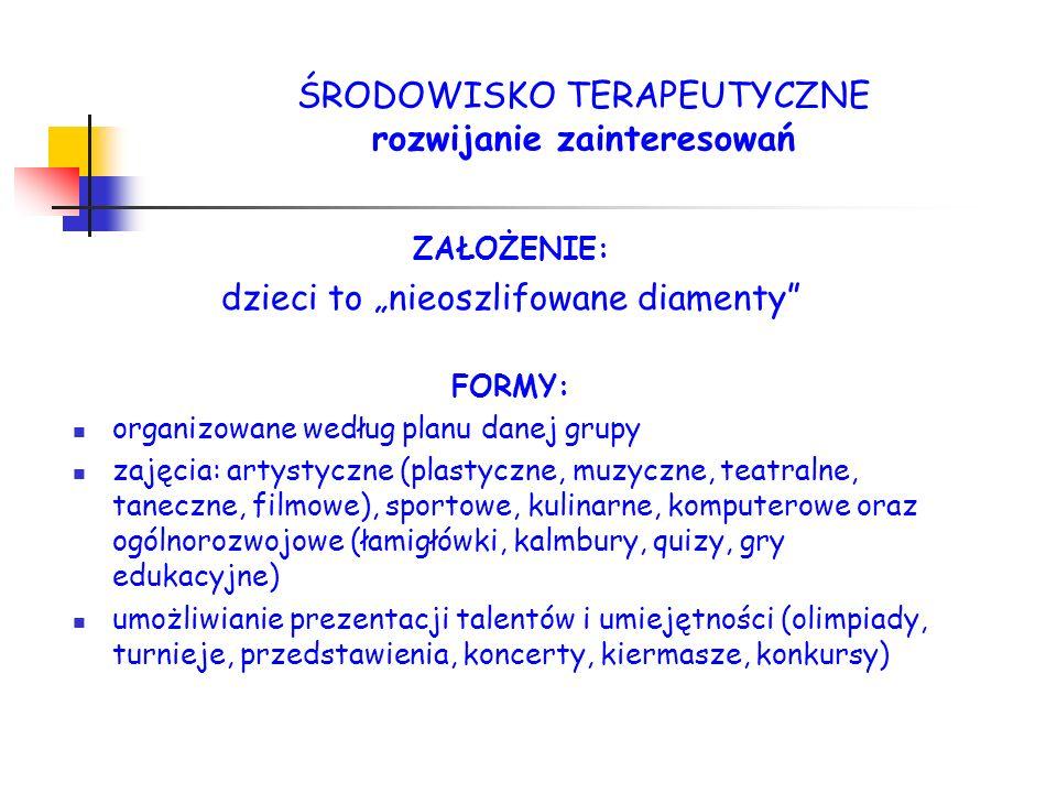 ZAŁOŻENIE: dzieci to nieoszlifowane diamenty FORMY: organizowane według planu danej grupy zajęcia: artystyczne (plastyczne, muzyczne, teatralne, tanec