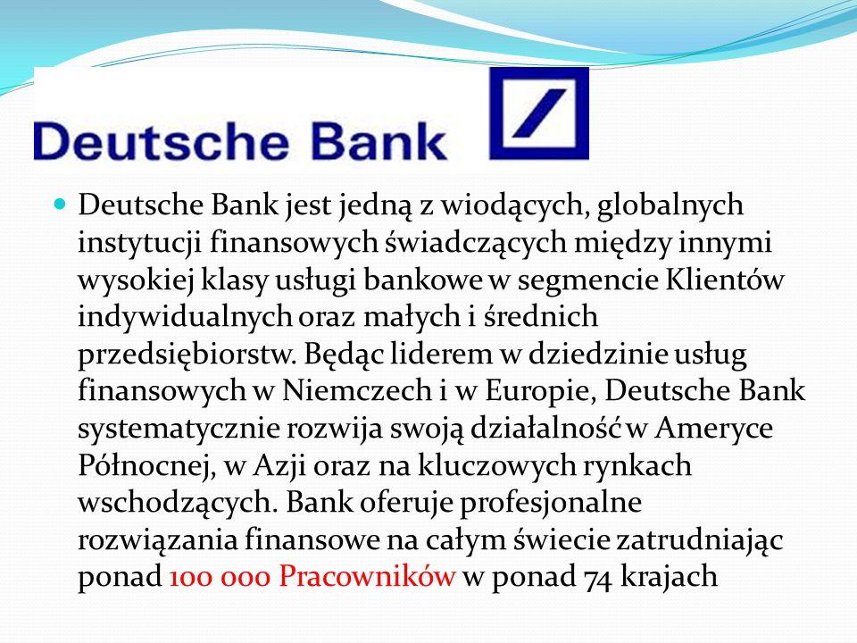 Deutsche Bank jest jedną z wiodących, globalnych instytucji finansowych świadczących między innymi wysokiej klasy usługi bankowe w segmencie Klientów