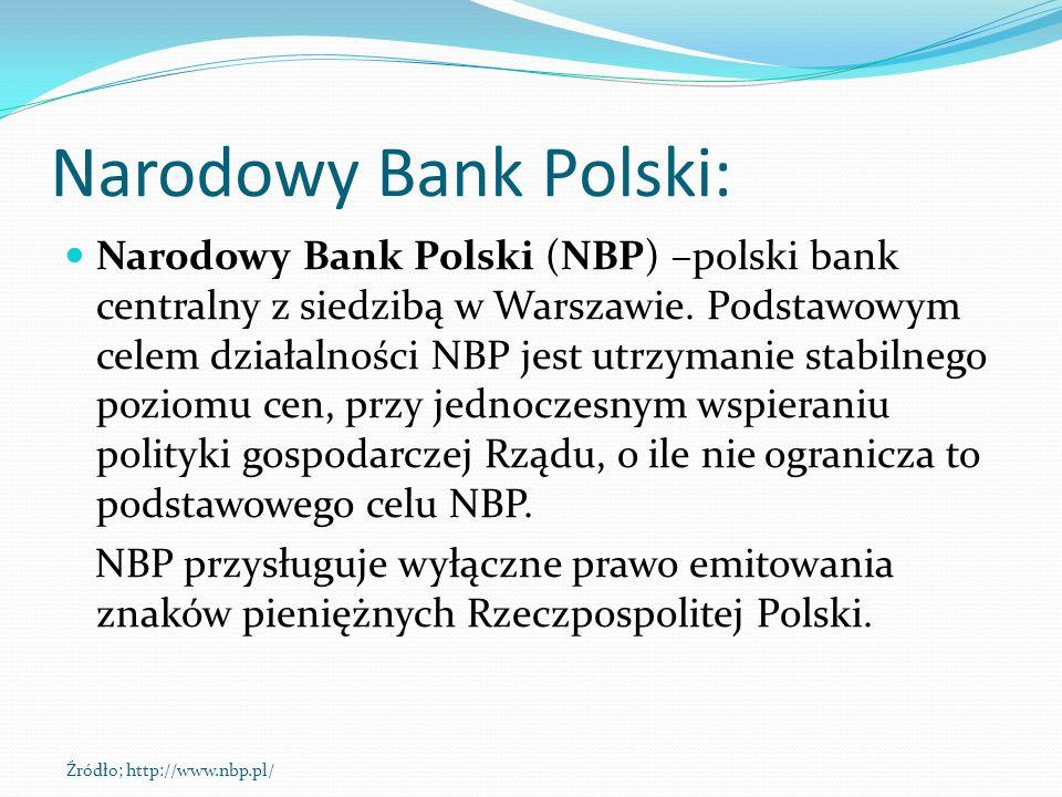 Narodowy Bank Polski: Narodowy Bank Polski (NBP) –polski bank centralny z siedzibą w Warszawie. Podstawowym celem działalności NBP jest utrzymanie sta