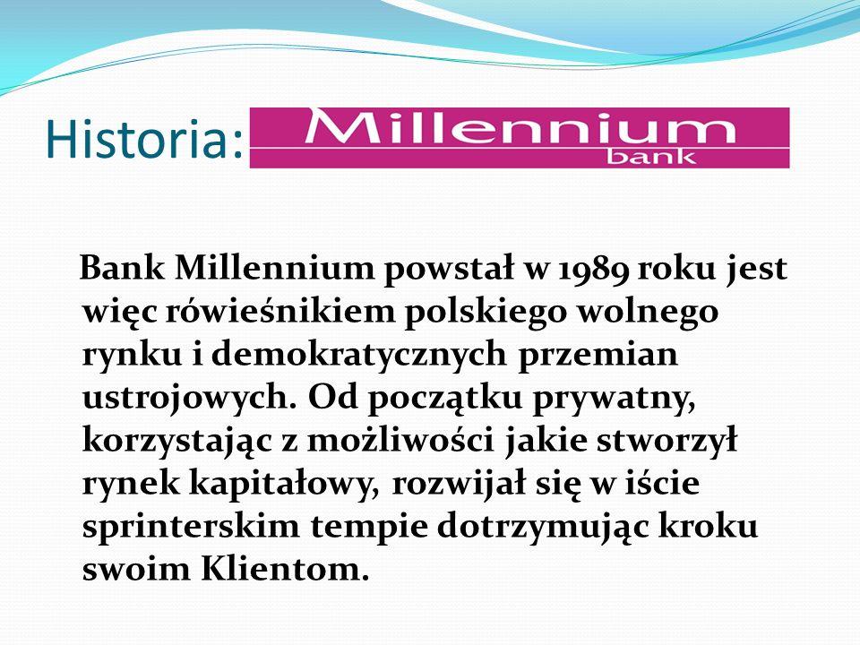 Historia: Bank Millennium powstał w 1989 roku jest więc rówieśnikiem polskiego wolnego rynku i demokratycznych przemian ustrojowych. Od początku prywa