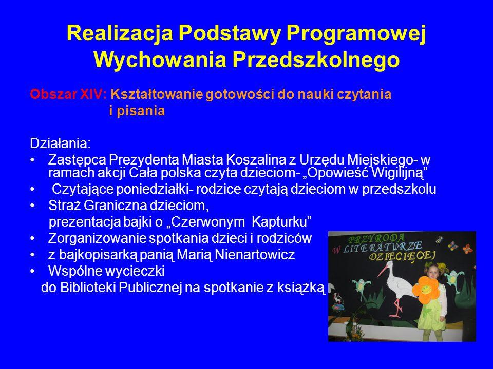 Realizacja Podstawy Programowej Wychowania Przedszkolnego Obszar XIV: Kształtowanie gotowości do nauki czytania i pisania Działania: Zastępca Prezyden