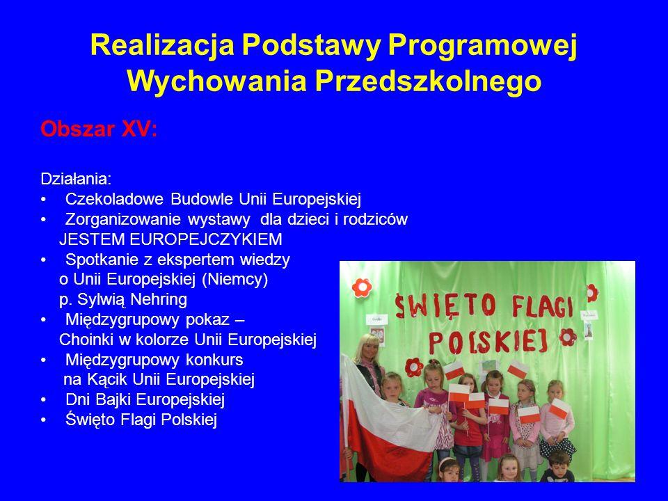 Realizacja Podstawy Programowej Wychowania Przedszkolnego Obszar XV: Działania: Czekoladowe Budowle Unii Europejskiej Zorganizowanie wystawy dla dziec