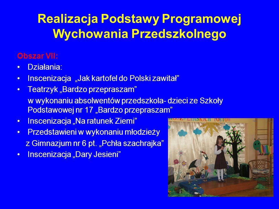 Realizacja Podstawy Programowej Wychowania Przedszkolnego Obszar VII: Działania: Inscenizacja Jak kartofel do Polski zawitał Teatrzyk Bardzo przeprasz