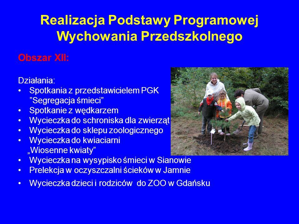Realizacja Podstawy Programowej Wychowania Przedszkolnego Obszar XII: Działania: Spotkania z przedstawicielem PGK Segregacja śmieci Spotkanie z wędkar