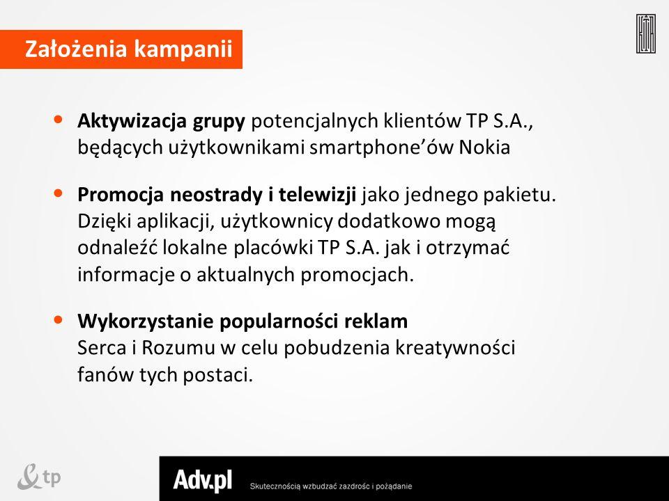 Aktywizacja grupy potencjalnych klientów TP S.A., będących użytkownikami smartphoneów Nokia Promocja neostrady i telewizji jako jednego pakietu. Dzięk