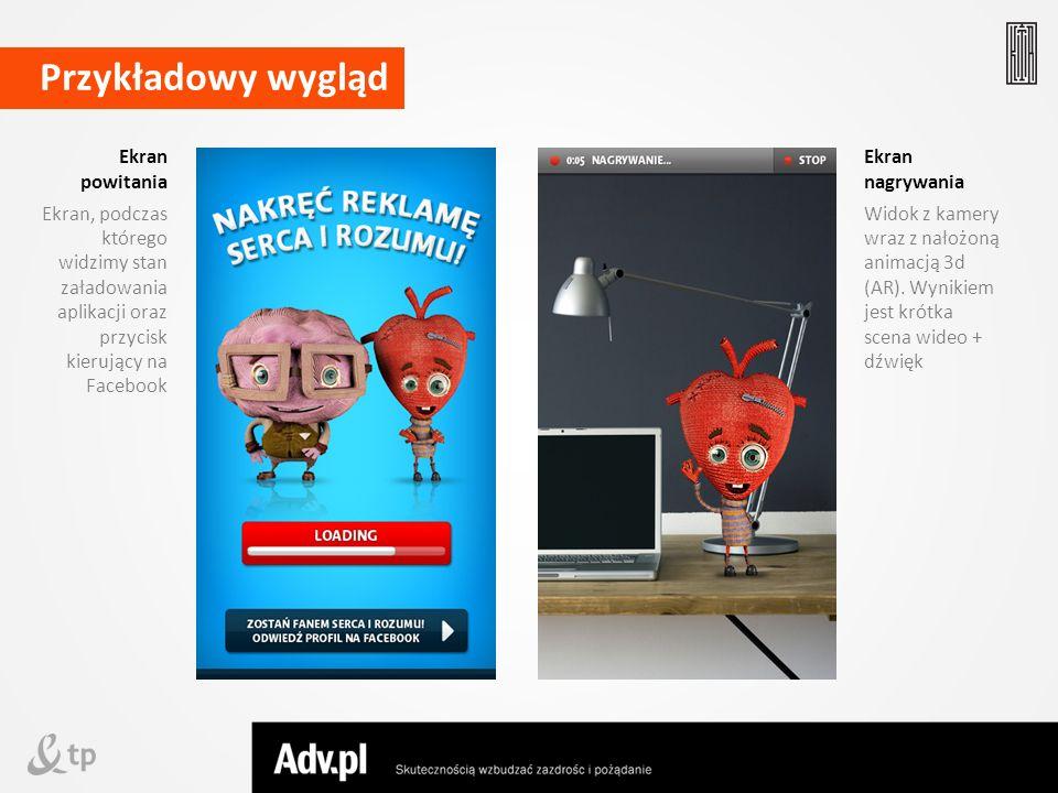 Ekran powitania Ekran, podczas którego widzimy stan załadowania aplikacji oraz przycisk kierujący na Facebook Przykładowy wygląd Ekran nagrywania Wido