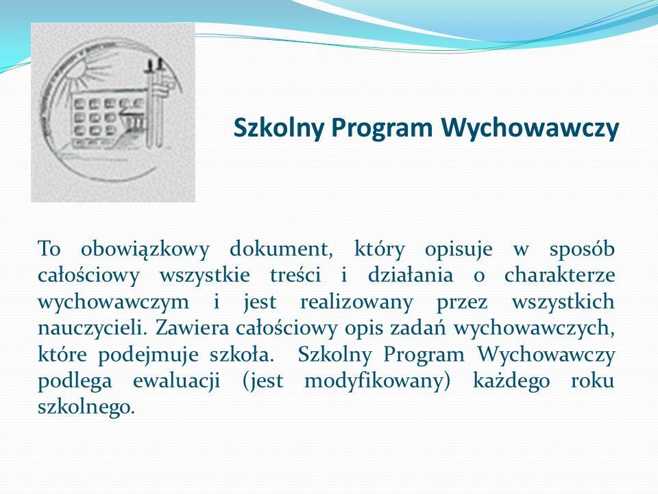 Szkolny Program Wychowawczy To obowiązkowy dokument, który opisuje w sposób całościowy wszystkie treści i działania o charakterze wychowawczym i jest