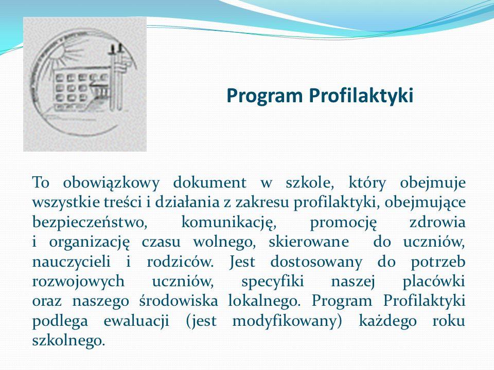 Program Profilaktyki To obowiązkowy dokument w szkole, który obejmuje wszystkie treści i działania z zakresu profilaktyki, obejmujące bezpieczeństwo,