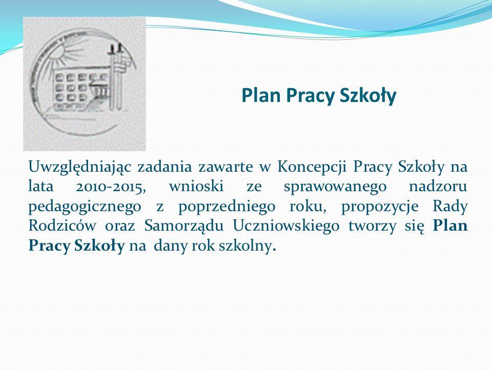 Plan Pracy Szkoły Uwzględniając zadania zawarte w Koncepcji Pracy Szkoły na lata 2010-2015, wnioski ze sprawowanego nadzoru pedagogicznego z poprzedni