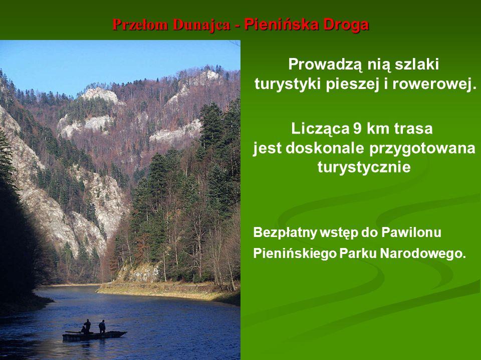 Przełom Dunajca - Pienińska Droga Licząca 9 km trasa jest doskonale przygotowana turystycznie Prowadzą nią szlaki turystyki pieszej i rowerowej. Bezpł