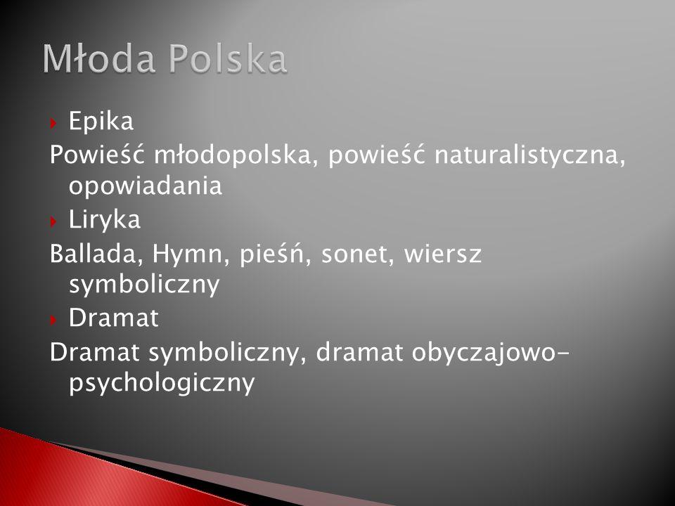 Epika Powieść młodopolska, powieść naturalistyczna, opowiadania Liryka Ballada, Hymn, pieśń, sonet, wiersz symboliczny Dramat Dramat symboliczny, dram