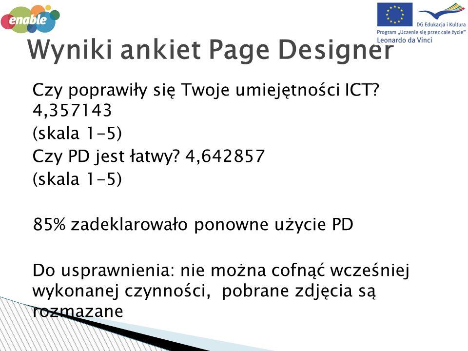 Czy poprawiły się Twoje umiejętności ICT. 4,357143 (skala 1-5) Czy PD jest łatwy.