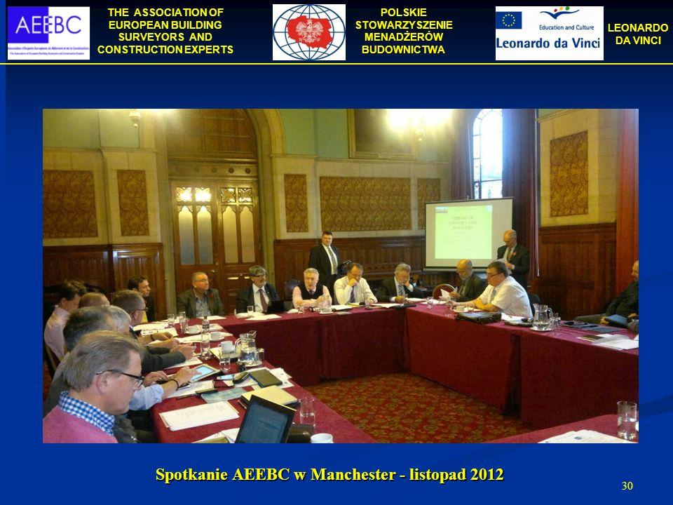 THE ASSOCIATION OF EUROPEAN BUILDING SURVEYORS AND CONSTRUCTION EXPERTS POLSKIE STOWARZYSZENIE MENADŻERÓW BUDOWNICTWA LEONARDO DA VINCI 30 Spotkanie A