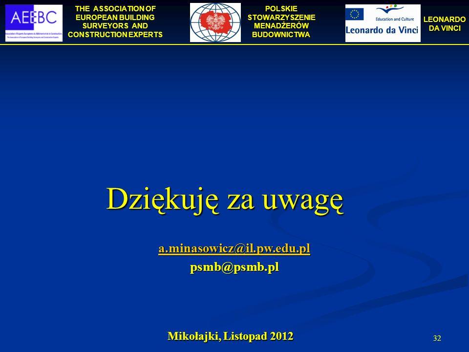 THE ASSOCIATION OF EUROPEAN BUILDING SURVEYORS AND CONSTRUCTION EXPERTS POLSKIE STOWARZYSZENIE MENADŻERÓW BUDOWNICTWA LEONARDO DA VINCI 32 Mikołajki,